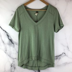We the Free S Olive Green Pearls Raw Edge Tee